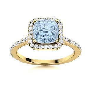 Natural 1.28 CTW Aquamarine & Diamond Engagement Ring