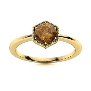 Natural 1.02 CTW Brown Diamond Solitaire Ring 18K