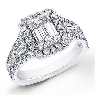 Natural 3.37 CTW Halo Emerald Cut & Baguette Diamond