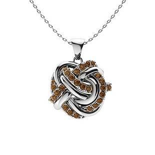 0.29 ctw Brown Diamond Necklace 18K White Gold