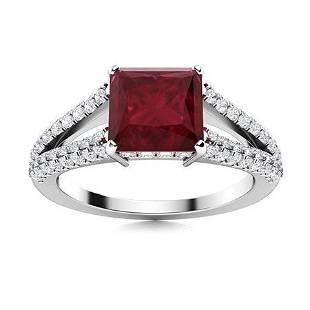 Natural 2.23 CTW Ruby & Diamond Engagement Ring 14K