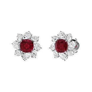 6.44 CTW Ruby & Diamond Halo Earrings 14K White Gold