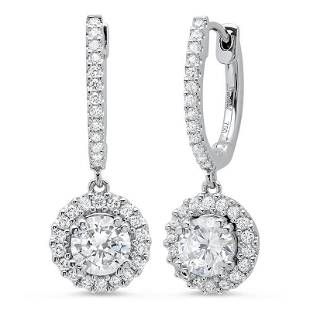 Natural 1.42 CTW U-Pave Lever Back Halo Round Cut