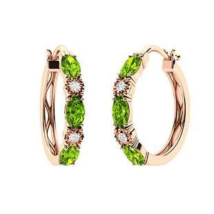 1.71 CTW Peridot & Diamond Hoops Earrings 18K Rose Gold