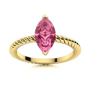 Natural 0.21 CTW Tourmaline Solitaire Ring 18K Yellow