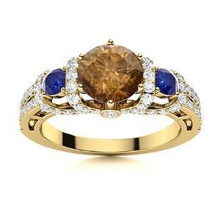 Natural 1.87 CTW Sapphire, Brown & White Diamond