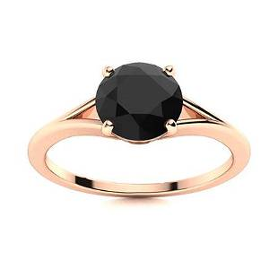 Natural 1.22 CTW Onyx Solitaire Ring 18K Rose Gold