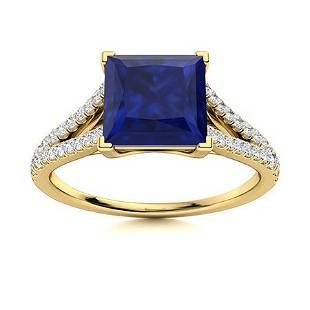 Natural 1.17 CTW Sapphire & Diamond Engagement Ring 18K