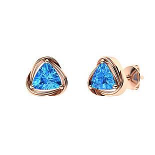 3.58 CTW Blue Topaz Studs Earrings 18K Rose Gold