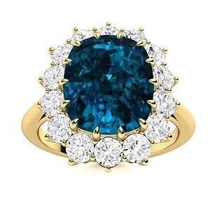 Natural 2.54 CTW Topaz & Diamond Engagement Ring 18K