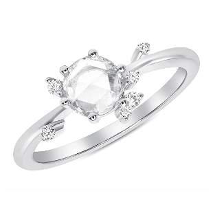 Natural 0.52 CTW Rose Cut Diamond Cluster Ring 18KT