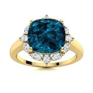 Natural 3.39 CTW Topaz & Diamond Engagement Ring 14K