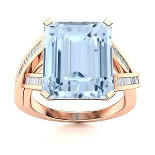 Natural 10.06 CTW Aquamarine & Diamond Engagement Ring