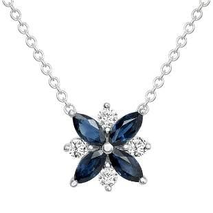 Natural 1.26 CTW Diamond & Blue Sapphire Necklace 18KT