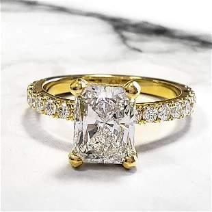 Natural 2.62 CTW Radiant Cut Diamond Engagement Ring