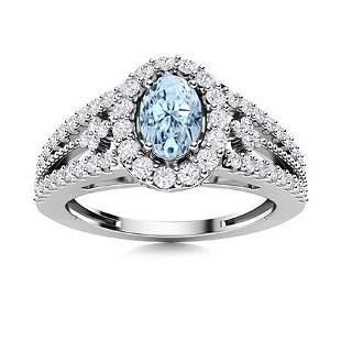 Natural 0.85 CTW Aquamarine & Diamond Engagement Ring