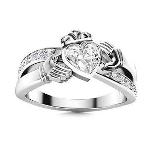 Natural 0.80 CTW Topaz & Diamond Engagement Ring 14K