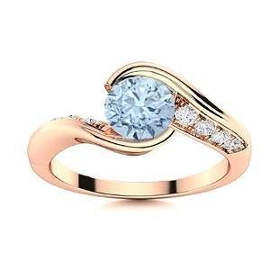 Natural 1.42 CTW Aquamarine & Diamond Engagement Ring