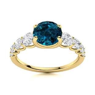 Natural 1.77 CTW Topaz & Diamond Engagement Ring 14K