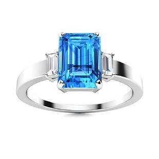 Natural 2.41 CTW Topaz & Diamond Engagement Ring 14K