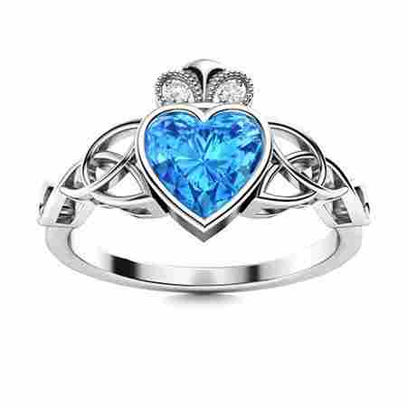 Natural 0.55 CTW Topaz & Diamond Engagement Ring 14K