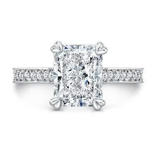 Natural 2.82 CTW Radiant Cut Diamond Engagement Ring