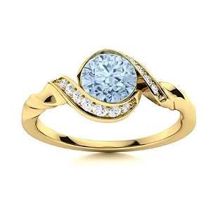 Natural 1.19 CTW Aquamarine & Diamond Engagement Ring