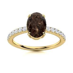 Natural 3.35 CTW Smoky Quartz & Diamond Engagement Ring