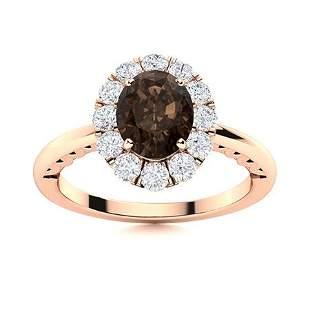 Natural 1.46 CTW Smoky Quartz & Diamond Engagement Ring