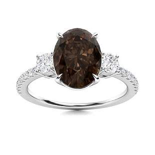 Natural 1.78 CTW Smoky Quartz & Diamond Engagement Ring