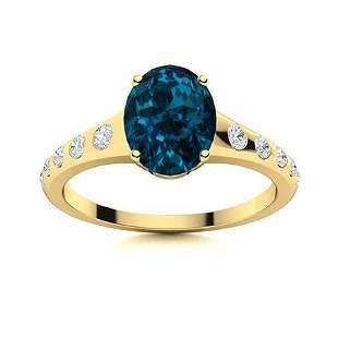 Natural 3.25 CTW Topaz & Diamond Engagement Ring 14K