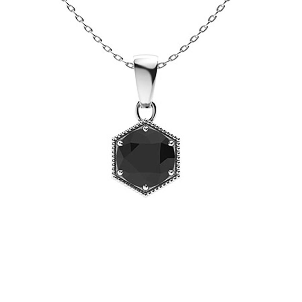 1.22 ctw Onyx Necklace 18K White Gold