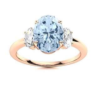 Natural 3.56 CTW Aquamarine & Diamond Engagement Ring