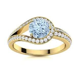 Natural 1.02 CTW Aquamarine & Diamond Engagement Ring