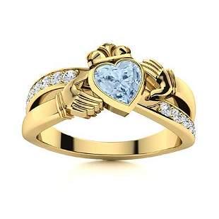 Natural 0.91 CTW Aquamarine & Diamond Engagement Ring