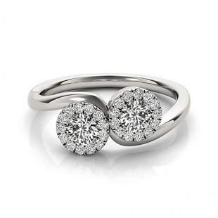 Natural 1.26 ctw Diamond 2 Stone 2 Stone Ring 14k White