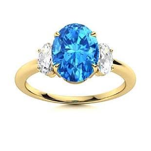 Natural 1.92 CTW Topaz & Diamond Engagement Ring 14K