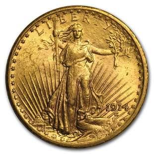 1914-S $20 Saint-Gaudens Gold Double Eagle AU