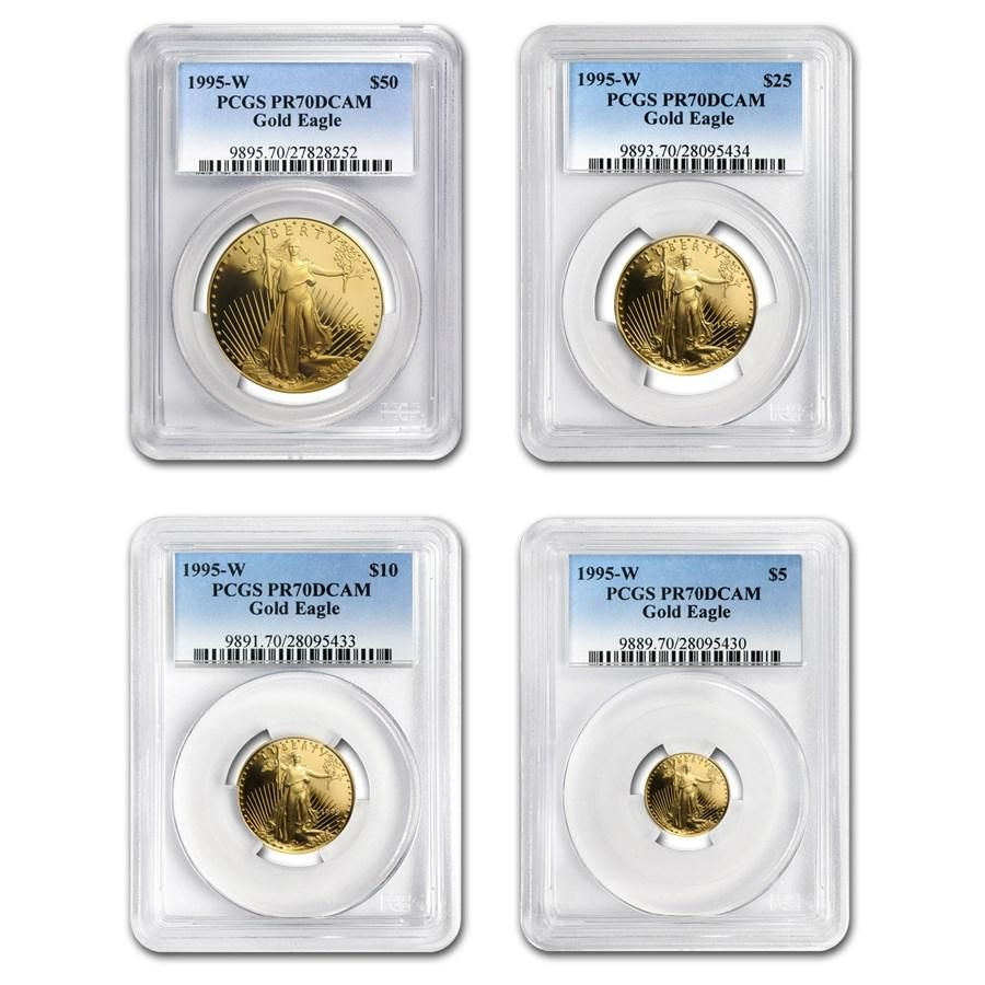 1995-W 4-Coin Proof Gold Eagle Set PR-70 PCGS