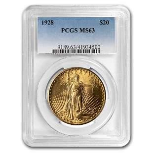 1928 $20 Saint-Gaudens Gold Double Eagle MS-63 PCGS
