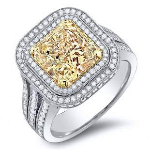 Natural 4.58 CTW Double Halo Canary Yellow Cushion Cut