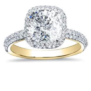 Natural 3.02 CTW Halo Cushion Cut Diamond Engagement