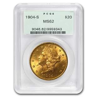 1904-S $20 Liberty Gold Double Eagle MS-62 PCGS