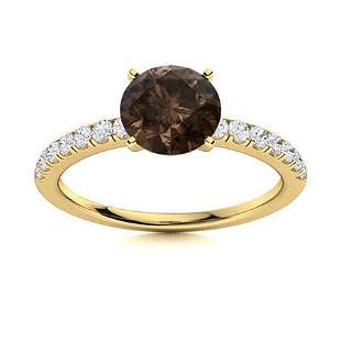 Natural 0.97 CTW Smoky Quartz & Diamond Engagement Ring