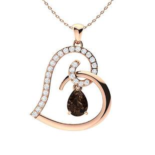 1.25 ctw Quartz & Diamond Necklace 14K Rose Gold
