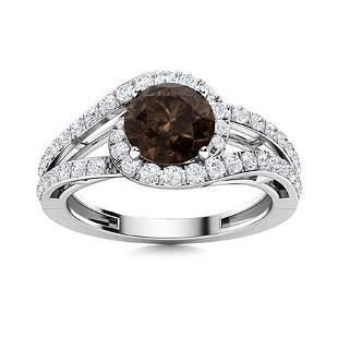 Natural 1.26 CTW Smoky Quartz & Diamond Engagement Ring