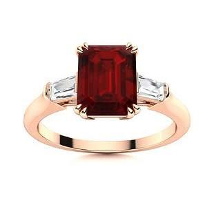 Natural 3.32 CTW Garnet & Diamond Engagement Ring 18K