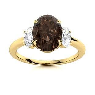 Natural 4.57 CTW Smoky Quartz & Diamond Engagement Ring