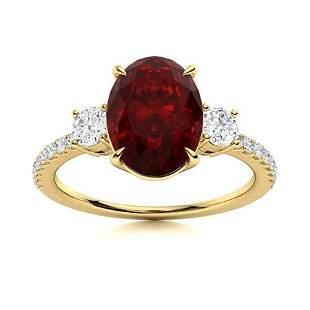 Natural 2.84 CTW Garnet & Diamond Engagement Ring 18K