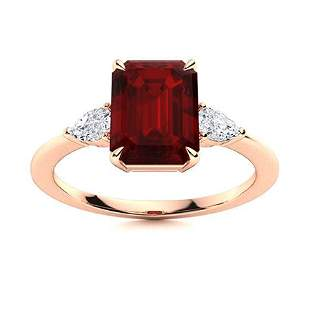 Natural 4.15 CTW Garnet & Diamond Engagement Ring 14K